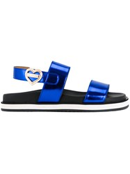 Love Moschino Metallic Flat Sandals Blue