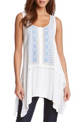 Women's Karen Kane Embroidered Handkerchief Hem Tank