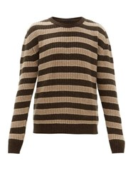 The Gigi Jeremy Striped Wool Blend Sweater Khaki Multi