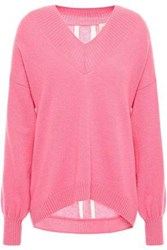 Charli Woman Lattice Trimmed Cashmere Sweater Pink