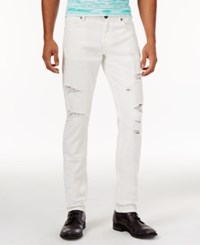 Versace Jeans Men's Slim Fit White Ripped Jeans