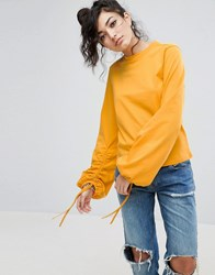 Asos Top With Oversized Ruched Sleeve With Drawsting Detail Bright Yellow