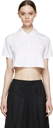 Hood By Air Ssense Exclusive White Pleated Cropped Shirt