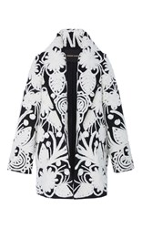 Naeem Khan Embroidered Coat Black White