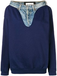 Night Market Denim Detail Sweatshirt Blue