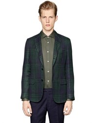 Massimo Piombo Linen And Cotton Black Watch Jacket
