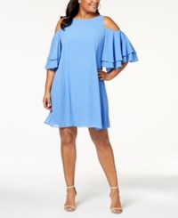 Jessica Howard Plus Size Cold Shoulder Ruffle Dress Sky