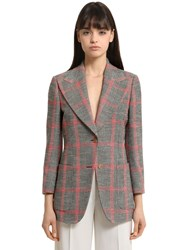 Gucci Window Plaid Wool And Cotton Blend Jacket