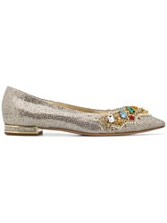 Casadei Crystal Embellished Ballerina Shoes Gold
