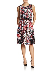 Saks Fifth Avenue Black Floral Print Pleated Dress Black Multi