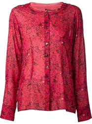 Sophie Theallet Printed Collarless Shirt Red
