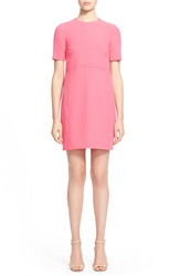 Victoria Victoria Beckham Short Sleeve Shift Dress Neon Pink