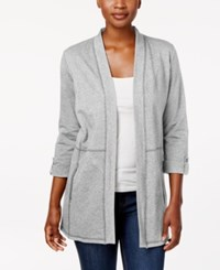 Karen Scott Open Front Cardigan Created For Macy's Smoke Grey Heather