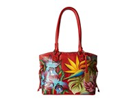 Anuschka 569 Large Drawstring Shopper Island Escape Handbags Red