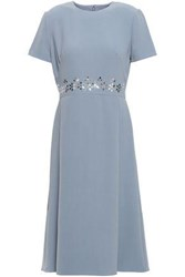 Mikael Aghal Woman Sequin Embellished Crepe Dress Light Blue
