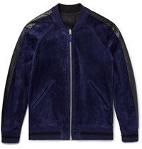 Berluti Reversible Leather Trimmed Suede And Jacquard Bomber Jacket Navy