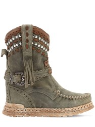 El Vaquero 70Mm Yara Studded Suede Boots Washed Green