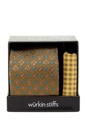 Wurkin Stiffs Floral Tie And Pocket Square Set Yellow