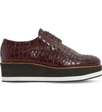 Dune Factor Mock Crock Leather Flatform Oxford Shoes Burgundy Reptile