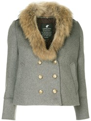 Loveless Fur Collar Double Breasted Jacket Grey