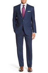 Men's Big And Tall David Donahue 'Ryan' Classic Fit Solid Wool Suit Navy