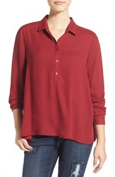 Junior Women's Lush 'Perfect' High Low Shirt Wine
