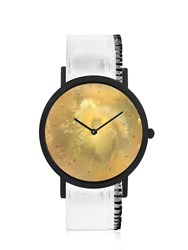 South Lane Avant Exposed Watch White Side Zipper Gold White