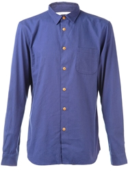 Folk Shoulder Patch Shirt Blue
