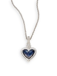 Judith Ripka White Sapphire Synthetic Blue Corundum And Sterling Silver Necklace