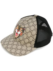 Gucci Cat Print Gg Supreme Baseball Hat Men Cotton Polyamide Polyester Polyurethane L Black