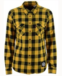 Levi's Women's Pittsburgh Steelers Plaid Button Up Woven Shirt Black Yellow