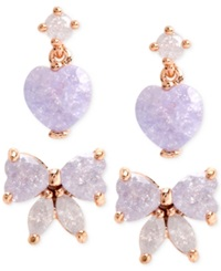 Betsey Johnson Gold Tone Purple Bow And Heart Stud Earring Set