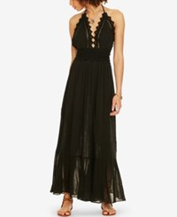 Denim And Supply Ralph Lauren Lace Trim Gauze Halter Dress Polo Black