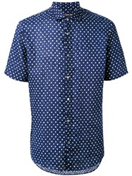 Michael Kors Polka Dot Shirt Men Linen Flax M Blue