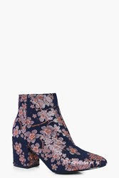 Boohoo Denim Floral Block Heel Ankle Boot Denim