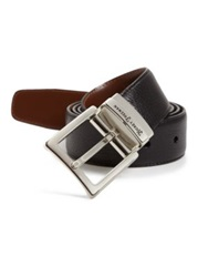Hickey Freeman Reversible Leather Belt Black Cognac