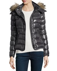 Moncler Armoise Shiny Quilted Jacket W Fur Hood Black