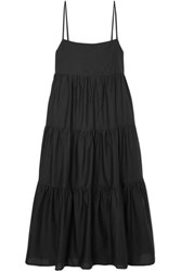 Matteau Tiered Cotton Voile Midi Dress Black