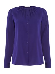 Hugo Boss Button Blouse With Ruched Neckline Purple