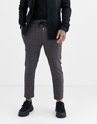 Only And Sons Elastic Waist Side Stripe Check Trousers In Grey