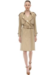 Burberry Cotton Canvas Trench Coat W Metal Rings Pale Honey