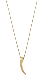Michael Kors Smooth Metal Horn Pendant Necklace Gold