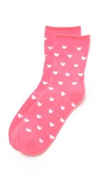 Plush Heart Rolled Fleece Socks Neon Pink