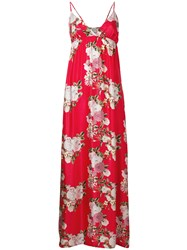Pink Memories Empire Silhouette Floral Dress Red