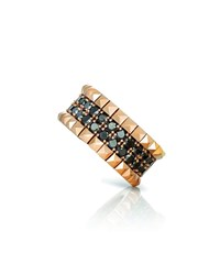 Roberto Coin 18K Rose Gold Black Diamond And Stud Ring