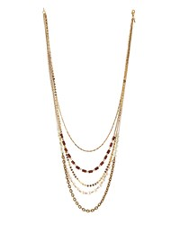 Lydell Nyc Golden Layered Multi Strand Mixed Media Necklace Women's