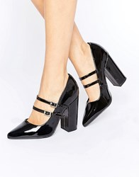 New Look Double Strap Heeled Court Shoe Black