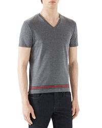 Gucci Grey V Neck T Shirt W Wide Hem Medgry