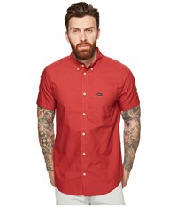 Rvca That'll Do Oxford Short Sleeve Woven Poppy Red Men's Short Sleeve Button Up