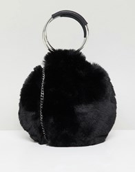 New Look Round Fur Bag Black